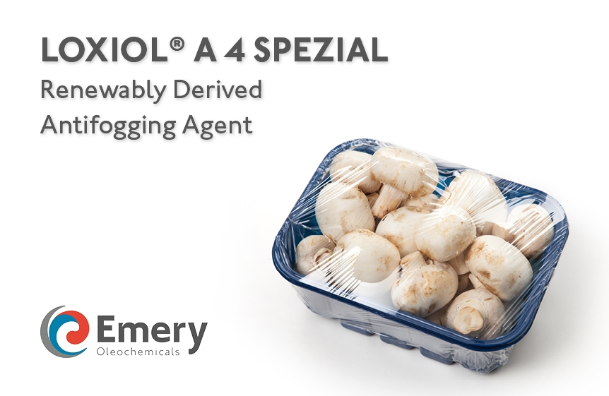 Emery Oleochemicals LLC Launches Renewably-Derived Antifogging Agent, LOXIOL® A 4 SPEZIAL, in North America