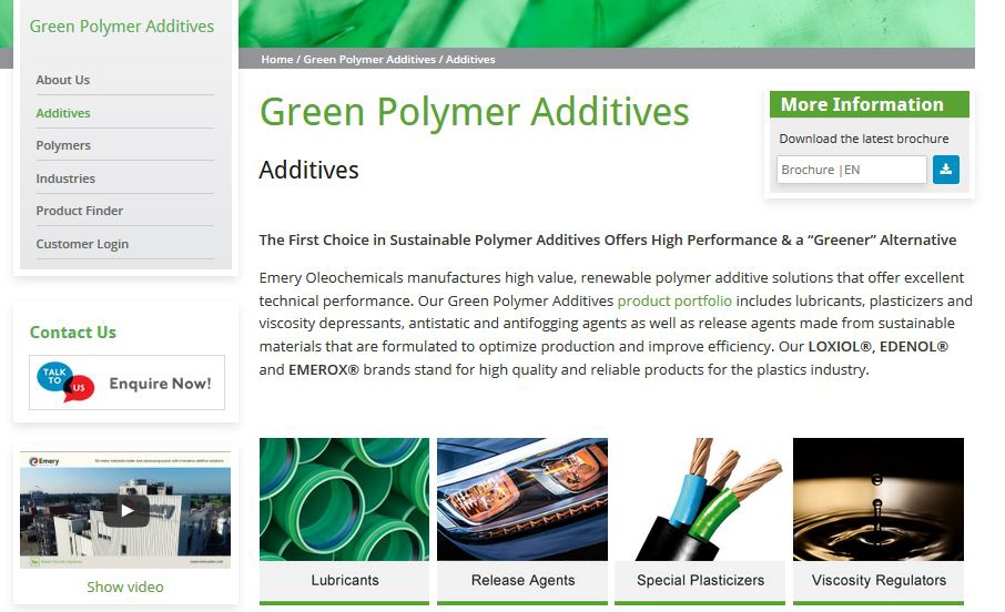 Emery Oleochemicals Launches New Interactive Website for Green Polymer Additives Business Unit