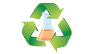 green recycling arrows around an erlenmeyer flask